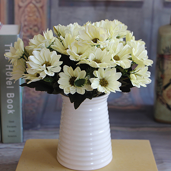 2 pcslot elegant white spring daisy floral artificial silk fake flower arrange room table - Silk Arrangements For Home Decor 2