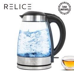 RELICE JK-108D Электрический стеклянный чайник 2400Вт, Автоматическое отключение, объем 1.7л синяя подсветка, электрочайник тер