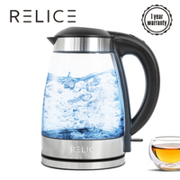 RELICE JK 108D Electric Kettle 2400W Auto Shut Off Water Bottle 1.7L Blue Illumination Inside Lid Open Button Glass Kettles