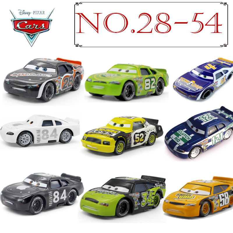 No.28-54 Disney Pixar Cars 3 2 METAL Diecast cars Disney McQueen #52 #84 apple 1:55 Diecast kid toys for Children Boys cars Gift цена