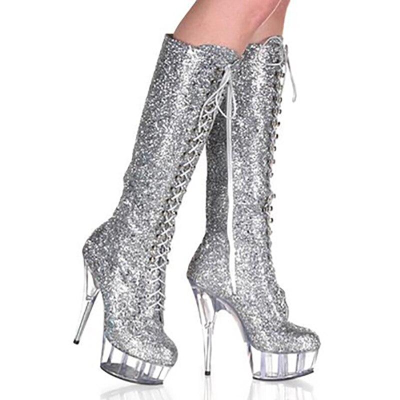 Bottes à plate-forme femmes chaussures en tissu pailleté talons hauts mi-mollet bottes mode Fenty beauté Zipper gothique chaussures dames bottes