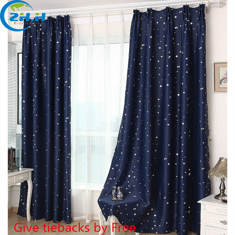 panel modern hooking blackout children curtains star window curtain