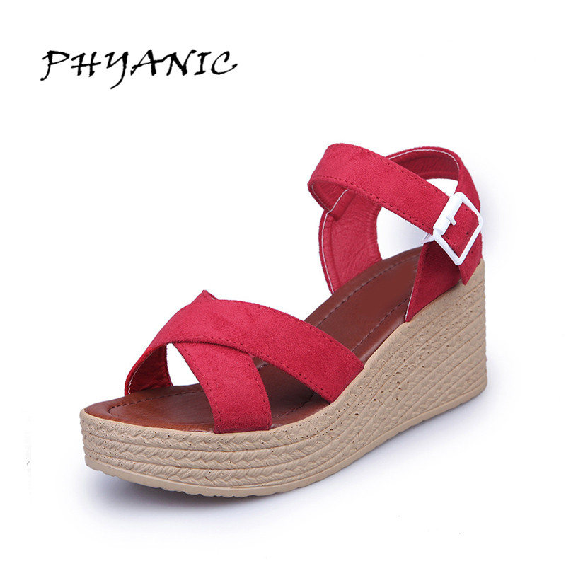 PHYANIC Fashion Shoes Women 2017 Summer New Beach Sandals Buckle High Heel Sandals Women 3 Colors Size 35-39 PHY3324 phyanic summer style shoes woman 2017 new gladiator sandals platform flats fashion creepers women flat shoes 3 colors phy4044