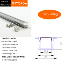 Tinyorda 1000Pcs (1M Length) Led Alu Profile  Channel Profil for 11mm LED Strip Light 1M channel