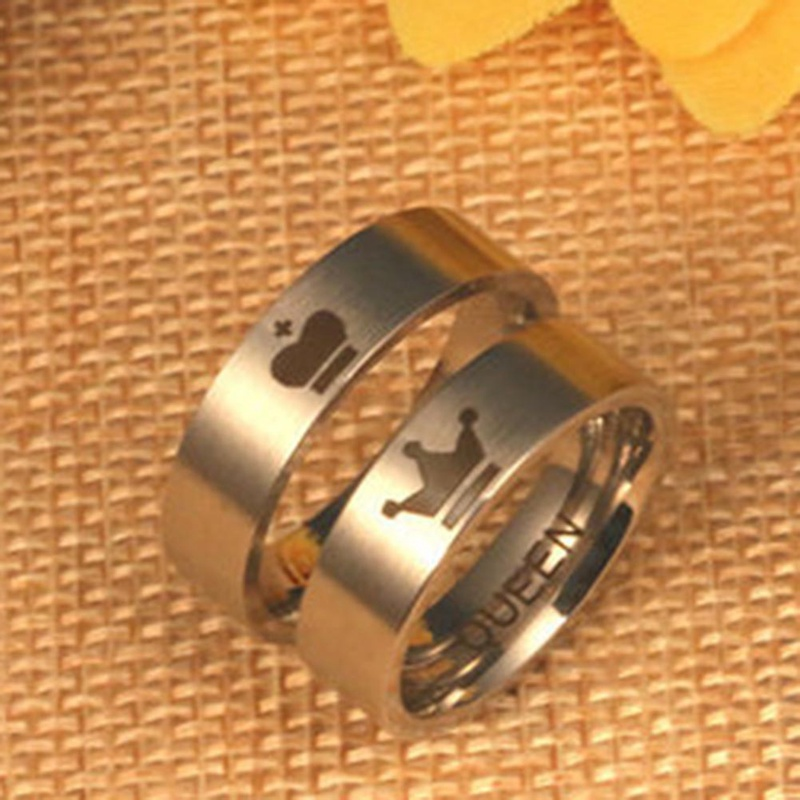 King And Queen Couple Rings 316L Stainless Steel Crown Rings For Couples Lovers Forever Love Promise Rings For Men Women