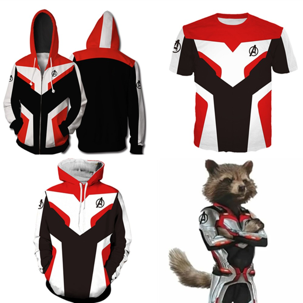 Avengers Endgame Quantum Realm Sweatshirt Jacket Advanced Tech Hoodie Cosplay Costumes superhero Iron Man Bright red Hoodies Top