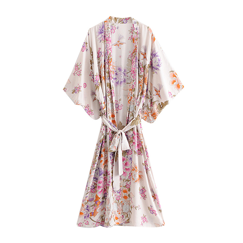 dd505e59afad Gitano bohemio Chic verano Vintage fajas Kimono Floral Camisas Mujer moda  ropa cárdigan suelta ...