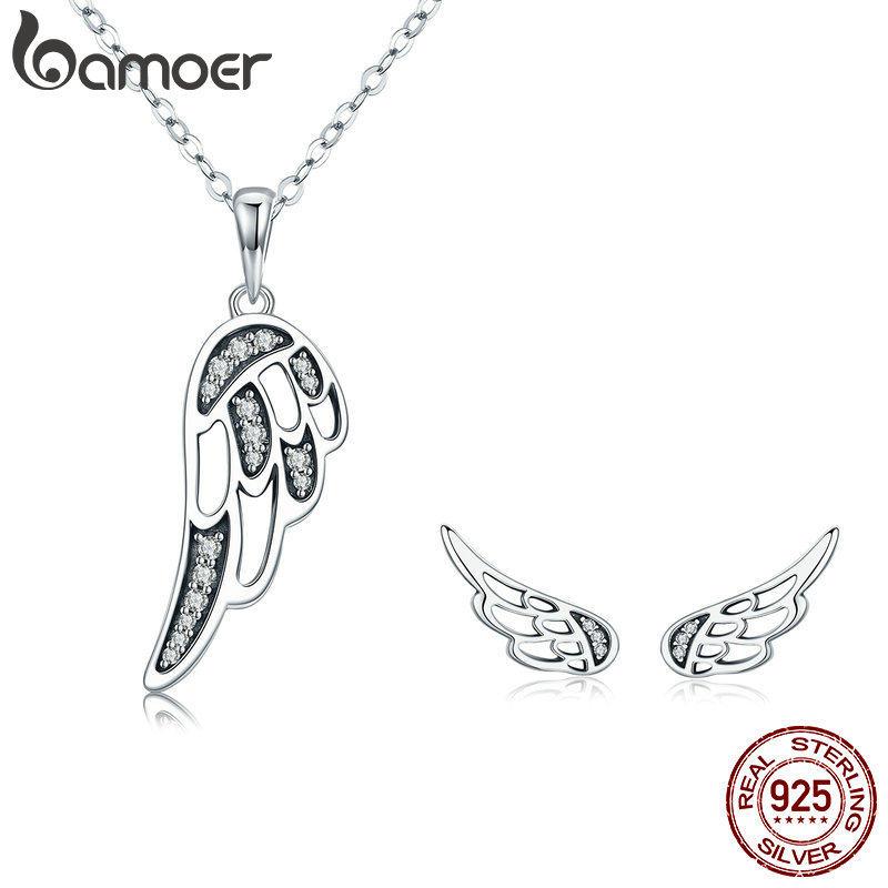 f42223cb2474 BAMOER auténtico 925 Plata de Ley 100% alas de hadas pluma mujer collar  pendientes joyería