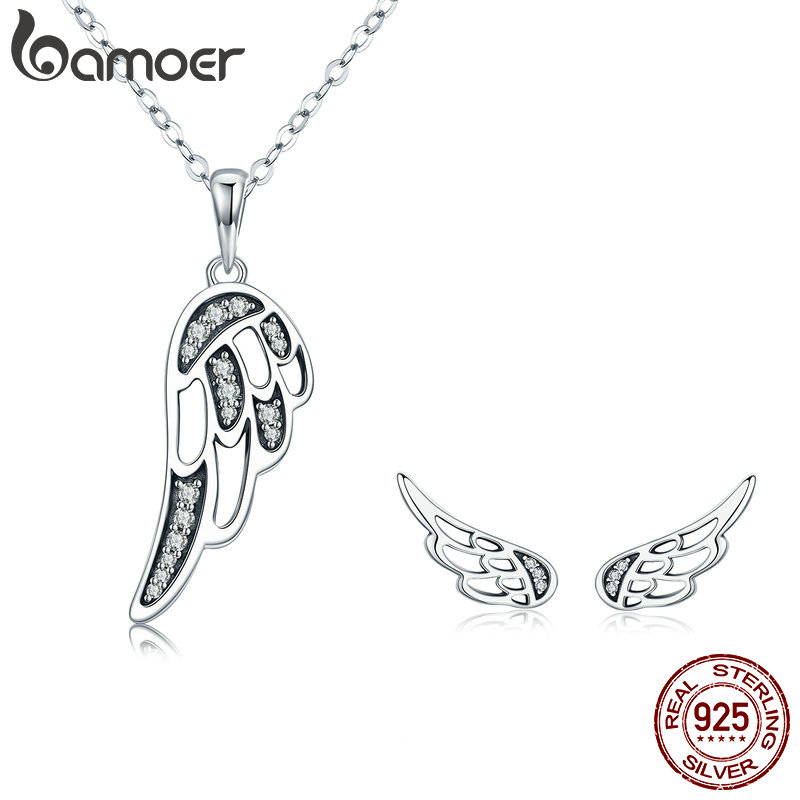 BAMOER Authentic 100% 925 Sterling Silver Fairy Wings Feather Women Necklace Earrings Jewelry Set Authentic Silver Jewelry Gift bamoer authentic 925 sterling silver red cz evil and angel pendant necklace earrings jewelry set sterling silver jewelry zh067