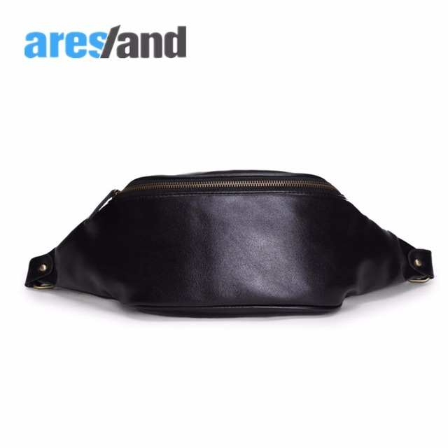 ARESLAND  Waist Bag Men Leather Chest Pack Male Belt Bag Crossbody Single Shoulder Bag Multi Pockets with Phone Case Zipper Lock