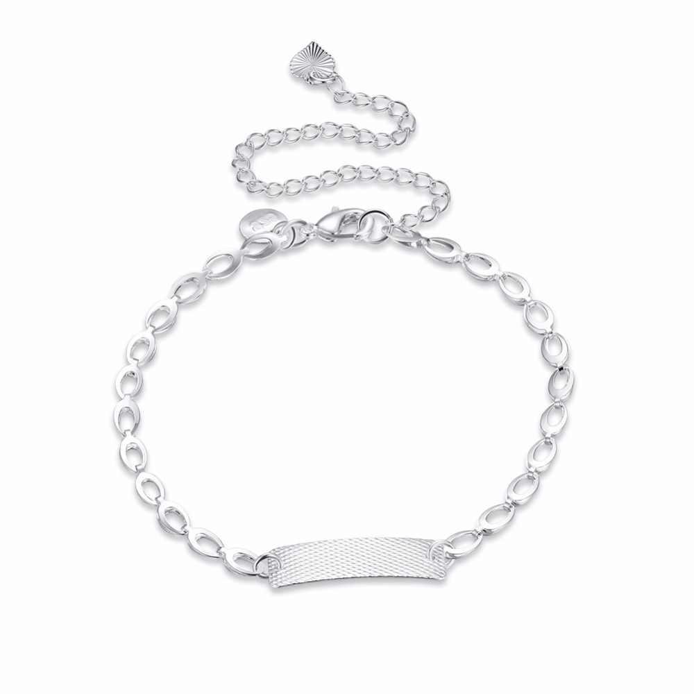ファッション 925 純銀メッキ足首チェーンブレスレット花の Id アンクレットエレガントなチャームシルバーフット · ウーマンジュエリー