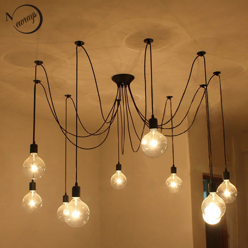 Loft modern Retro big Spider Chandelier Lighting LED DIY 14 Lights Retro vintage E27 AC 110V 220V black lamp lustre chandeliers 10 lights creative fairy vintage edison lamp shade multiple adjustable diy ceiling spider pendent lighting chandelier 10 ligh