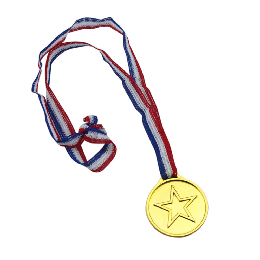 50pcs/set Children Gold Plastic Winners Medals Sports Day Party Bag Prize Awards Toys For Kids Party Fun Supplies High Quality