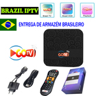 GoTV Brasil IPTV Box with 2 years IPTV subscription Android 7.1.2 LIVE TV+VOD for Brazil android tv box shipping from brazil