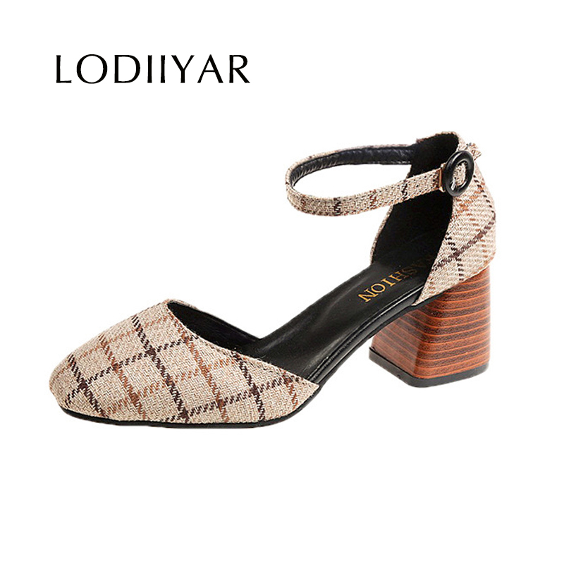 High Heels Shoes Women Pumps Square Toe Summer Sandals Thick Heels Plaid Casual Good Quality Female Office Shoes Comfortable 1