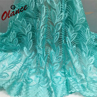 Teal green African Net Laces Embroidered with stones FC20, Elegant Stretch Lace Fabric Elastic Lace Trim Dress Accessories