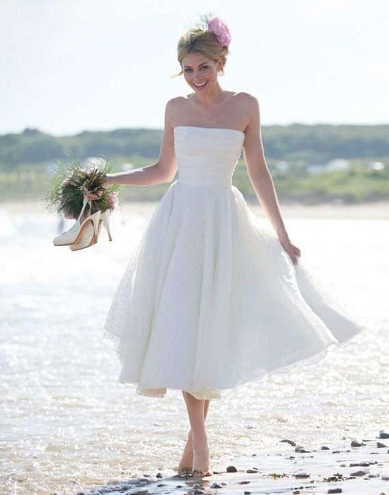 2015 summerfall beach wedding dresses short a line backless strapless wedding party gowns tea