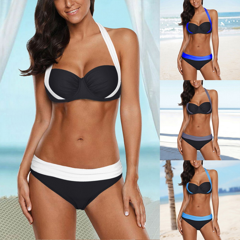 Swimsuit Bikini-Set Plus-Size Bathing-Suits Lower-Waist Push-Up HALTER Women 4XL Mujer