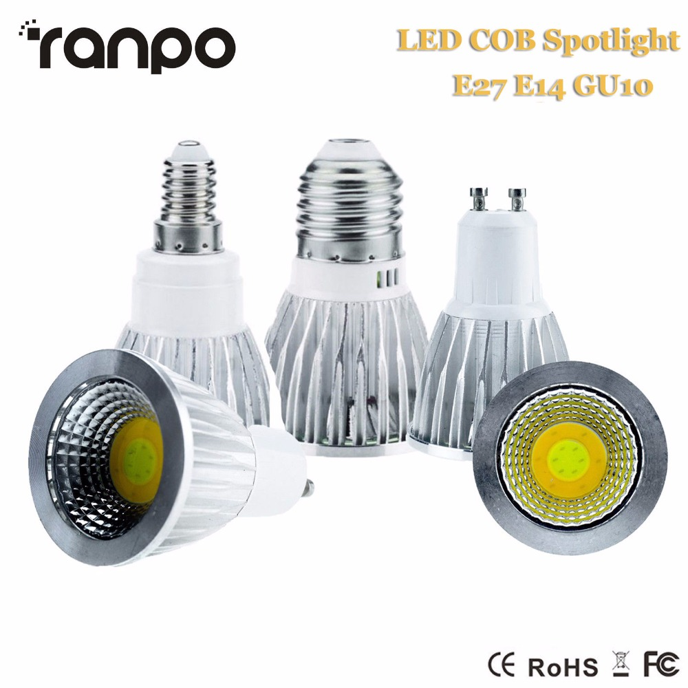 Dimmable E27 E14 GU10 LED COB Spotlight 35W Equivalent Lamp Bulb Light 85-265V AC 110V 220V Corn Lighting Spot Lights