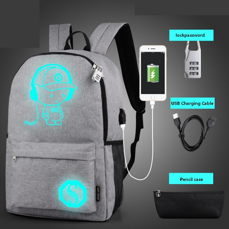 Student Luminous School Bags Anti-theft Password Lock Laptop Backpacks Woman Waterproof Backpack Rugzak Kinderen Jongens