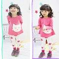 2016 весна осень маленькая кошка девушки одежда наборы с длинным рукавом Футболку и леггинсы набор детей костюмы для девочек одежда бесплатная доставка