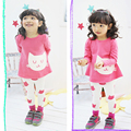 2016 spring autumn small cat girls clothing sets long-sleeve T-shirt and leggings set kids suits for girls clothes Free shipping