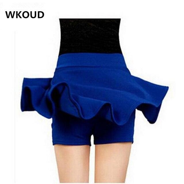 WKOUD М-5XL Плюс Размер Шорты Юбки женские Твердые Мини Плиссированные Юбки Мода Высокой Талии Повседневная Одежда DK6023