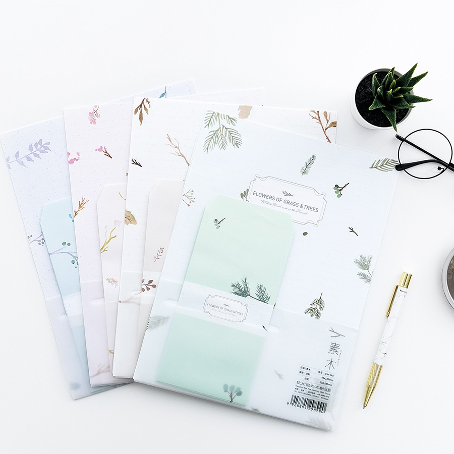 9 Pcs/Set 3 Envelopes+6 Letter Papers Flowers Of Grass And Trees Letter Envelope Set Gift Korean Stationery