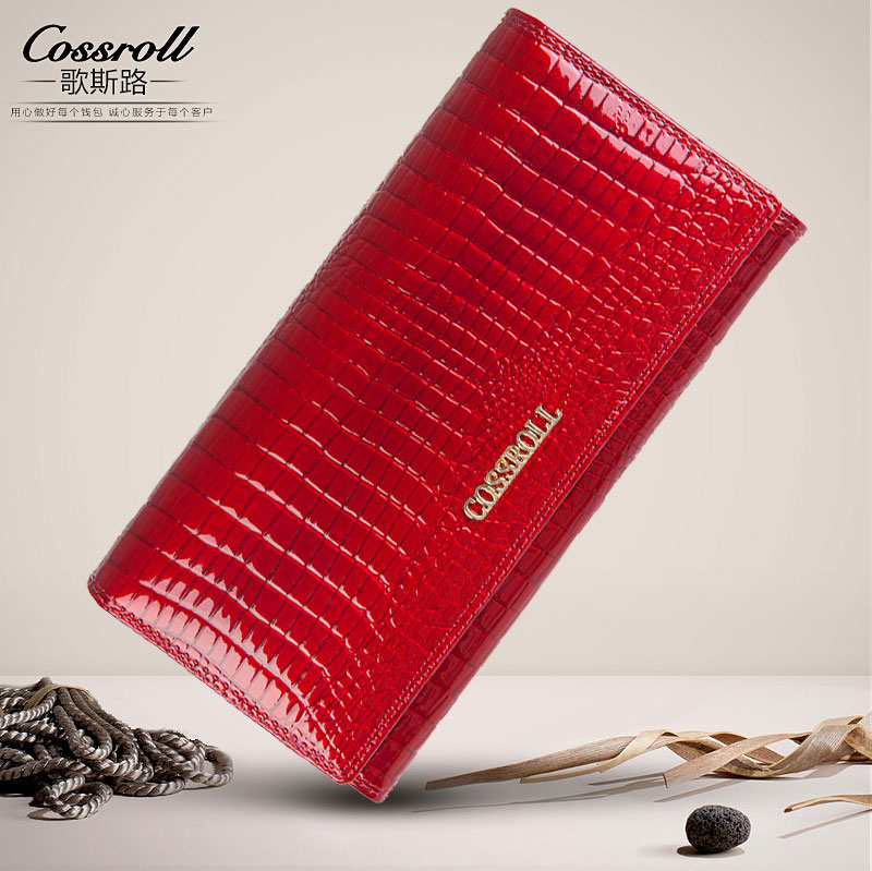 Cossroll women genuine leather wallets crocodile pattern long women's purse Coin handbags with credit card holder luxury long genuine leather wallet women bag crocodile pattern women s wallets cowhide bank credit card holder purse coin purse