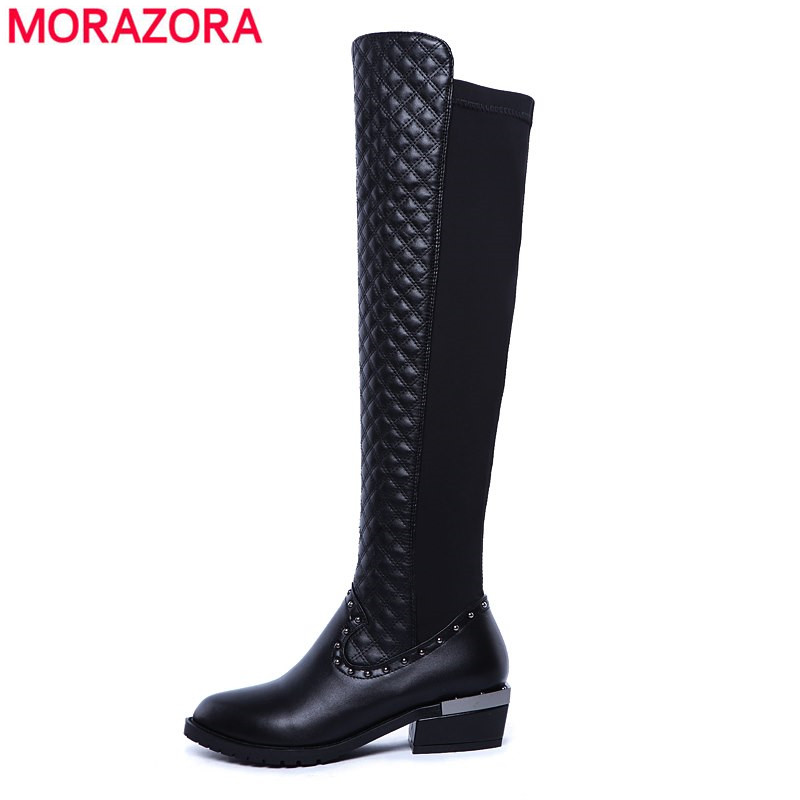 ФОТО Big size new brand high quality pu + genuine leather boots square heels autumn winter boots fashion knee high boots black shoes