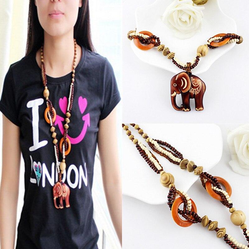 2016 Women Boho Ethnic Carving Beach Jewelry Handmade Beads Wood Elephant Pedant Necklace Fashion Sweater Chain Christmas Gift