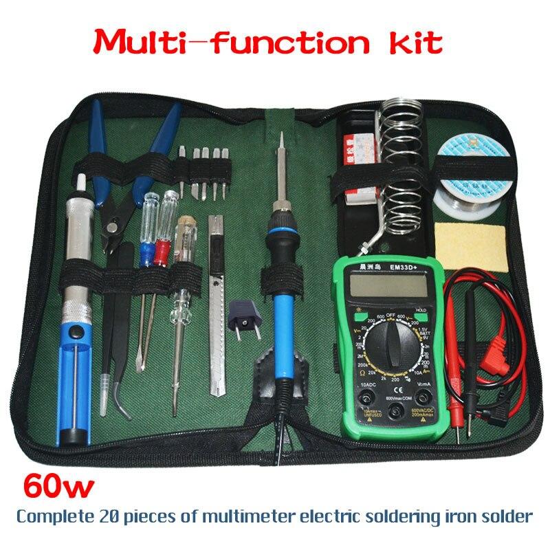 Us Eu Plug 220v 60w Electric Soldering Iron Kit+ Portable Welding Repair Tool Tweezers Solder Wire