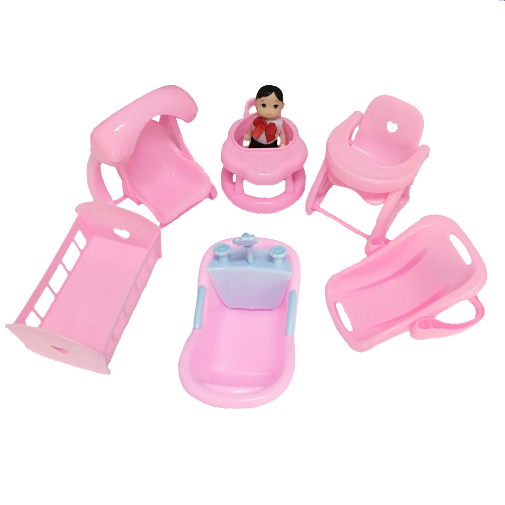 6 unids muñecas mini cuna, silla, andador, swing, bañera, asiento ...