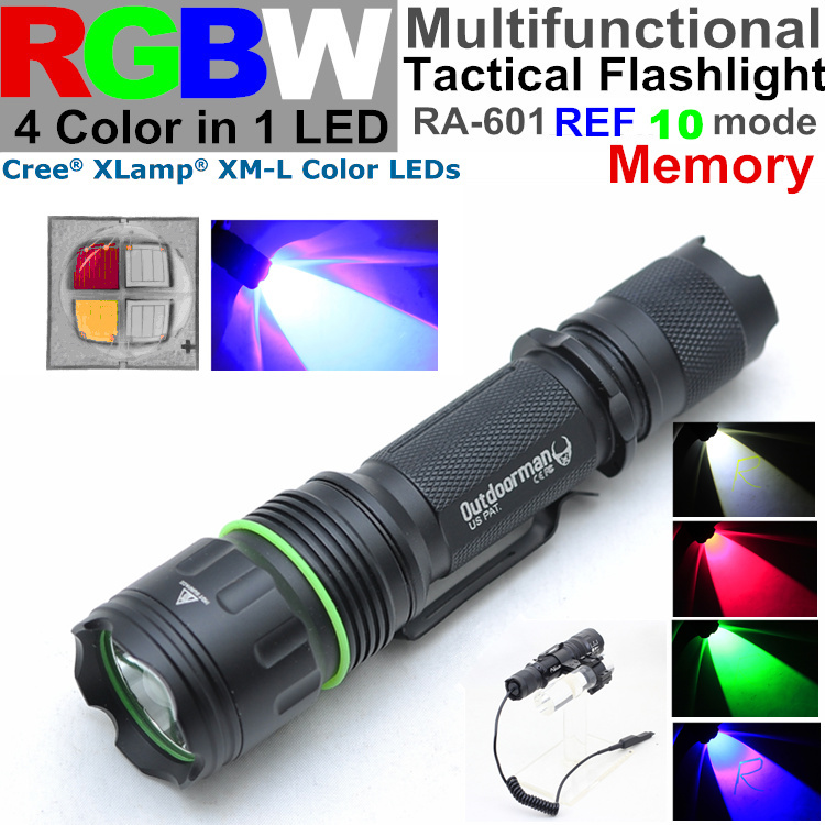 RA-601REF CREE XM-L RGBW 4 color 1 LED( red blue green white ) 10 mode Intelligent memory Police torch Tactical Flashlight - QIHANG fashion shop store