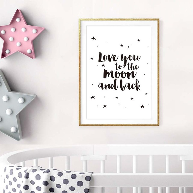 Love You To The Moon And Back Romantic Canvas Art Print Painting ...