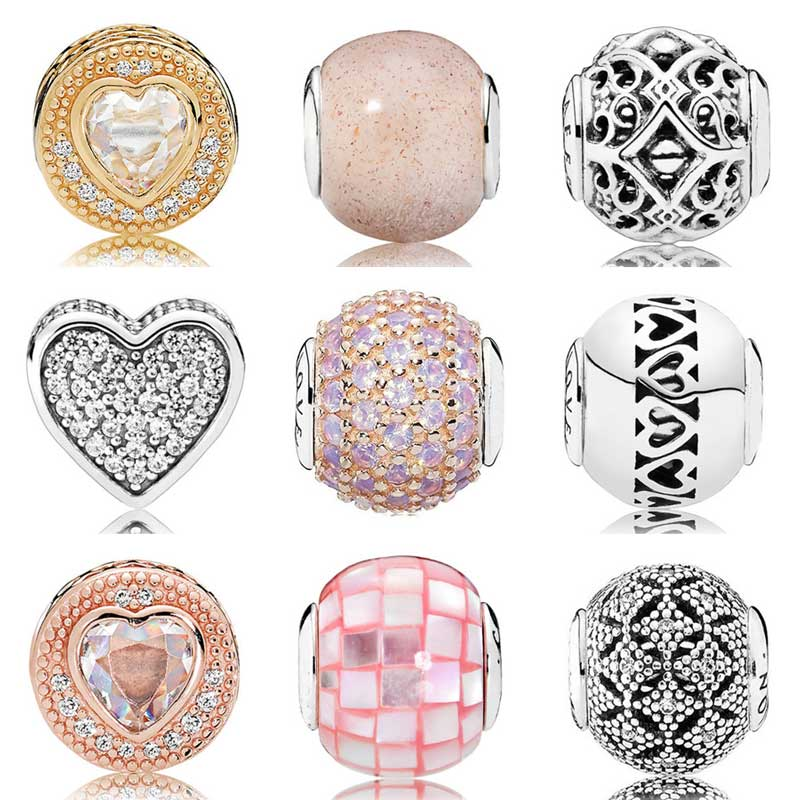 Rose Gold Love & Compassion With Cubic Zirconia Beads Fit Pandora Essence COLLECTION Bracelet 925 Sterling Silver Charm Jewelry