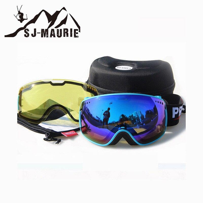 Lunettes de Ski adultes sj-maurie Anti-buée lunettes sphériques Anti-UV lunettes de neige lunettes détachables Double lentille lunettes de Ski