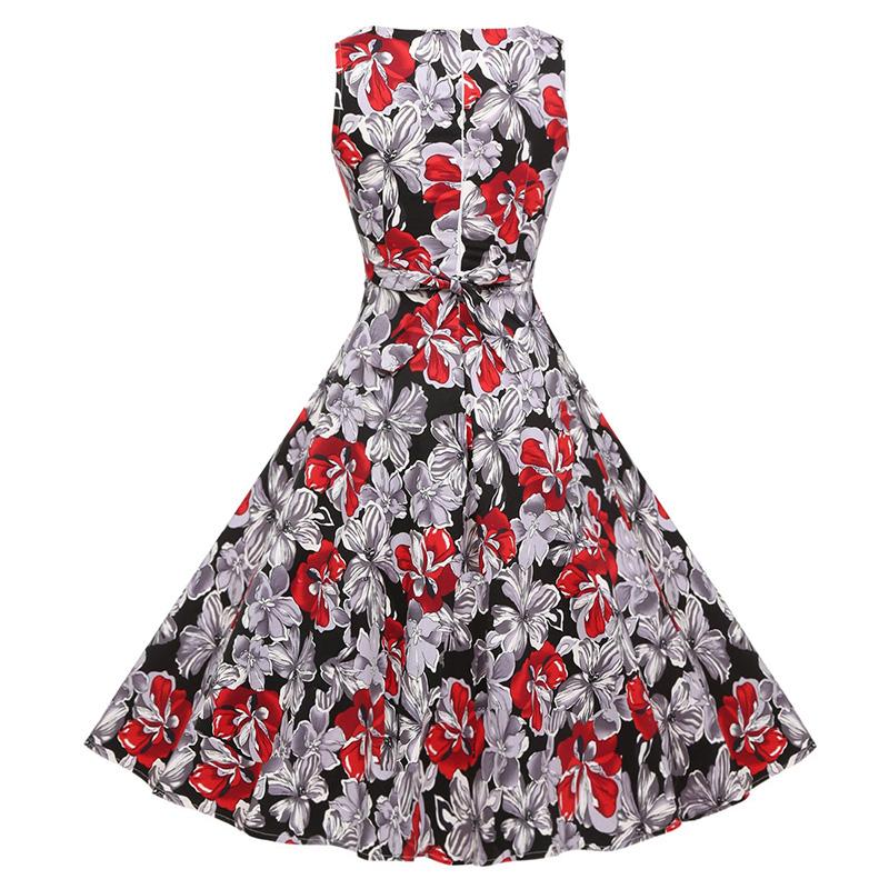 Kostlish Cotton Summer Dress Women 2017 Sleeveless Tunic 50s Vintage Dress Belt Elegant Print Rockabilly Party Dresses Sundress (82)