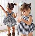 2017 новых прибыть летом стиль новорожденных девочек комплект одежды Полоса dress + Трусы 2 шт. симпатичные платье новорожденный одежда детские костюм