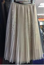 Fall New Style Stars Sequin Decorated Multilayer Gauze Pleated Skirt Elegant Tulle Saias Longas Casuais