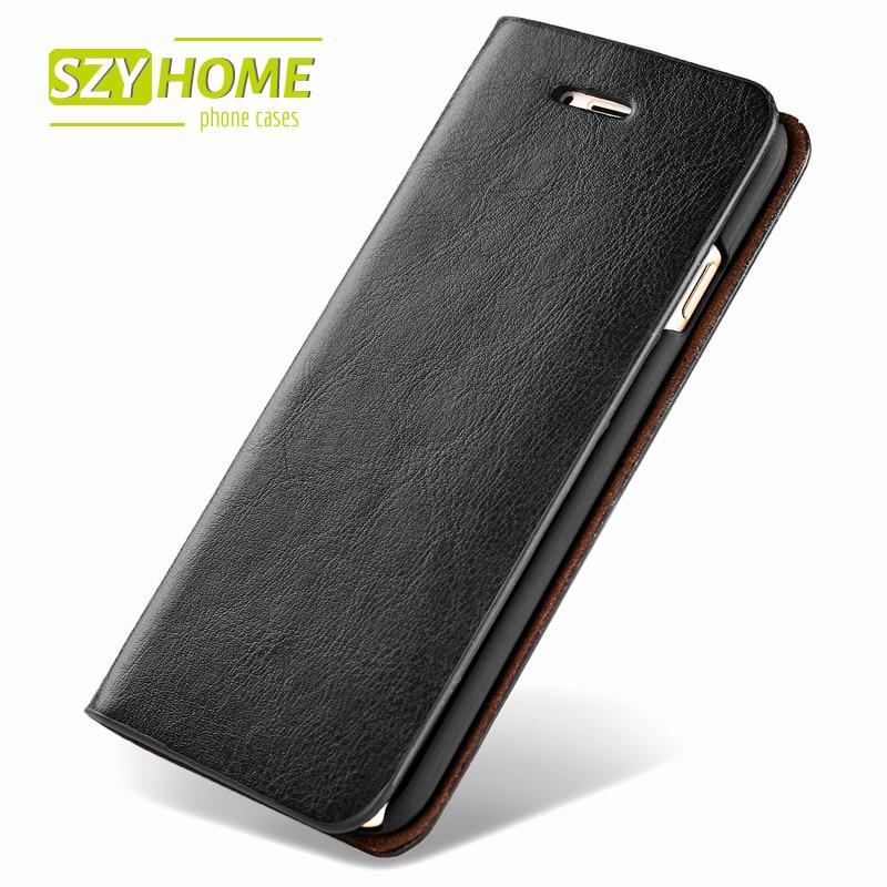 bilder für SZYHOME Phone Cases für IPhone 6 6 s 7 Plus 4 4 s 5 5 s SE 5C Luxus Retro Reale Echtes Leder-mappen-schlag-abdeckung Fall Capa Coque