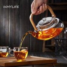 INMYLIFE Bambus Griff Teekanne mit Glas Sieb Spülmaschinenfest Sicher Herd Sicher Teaset Wasserkocher Hitzebeständige 27,3 unze