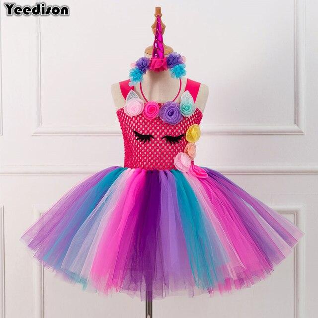 8d9532bda67a4 US $17.56 37% OFF|Halloween Girl Rainbow Unicorn Costumes Flower Kids Tutu  Dresses Unicornio Party Birthday Girls Dress Headband For Children Sets-in  ...