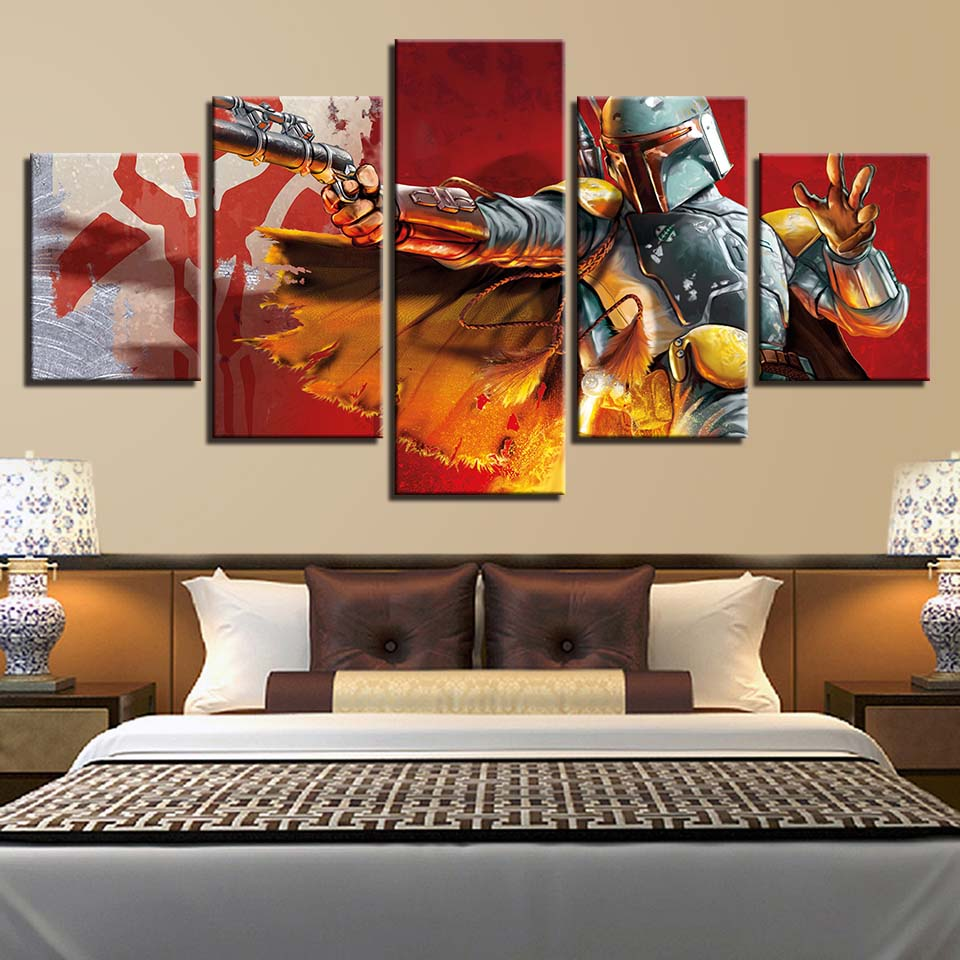 Canvas HD Prints Painting Home Decor Wall Art 5 Panel Star Wars Battle Multiple Movie Posters Frame Bedroom Modular Pictures image