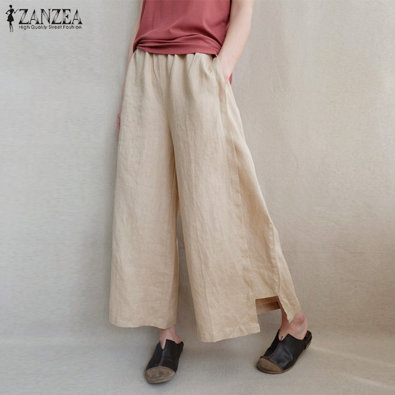 2019 ZANZEA Women Summer Elegant Elastic Waist Casual Solid   Wide     Leg     Pants   Loose Flare Pantalon Cotton Linen Trousers Oversized