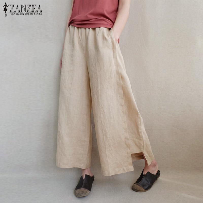 2019 ZANZEA Women Summer Elegant Elastic Waist Casual Solid   Wide     Leg     Pants   Loose Flare Pantalon Cotton Linen Trousers Oversized