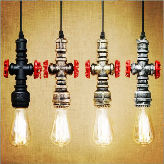 American Retro Style Loft Industrial Lamp Hanglamp Water Pipe Vintage Pendant Lights LED Edison Light Fixture Lampen Lighting vintage pendant lights retro water pipe pendant lamp e27 holder edison bulbs lighting fixture for warehouse diningroom ktv bar