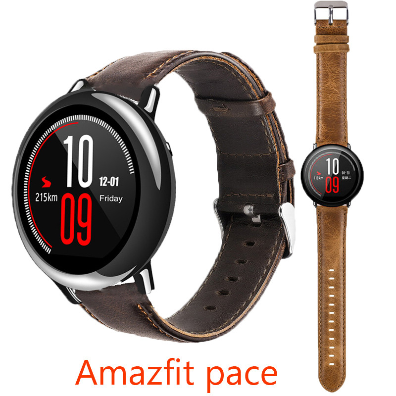HOT High quality Genuine Leather strap for xiaomi HUAMI AMAZFIT Pace Smart Watch bracelet belt Fitness Tracker GPS bands soft  strap