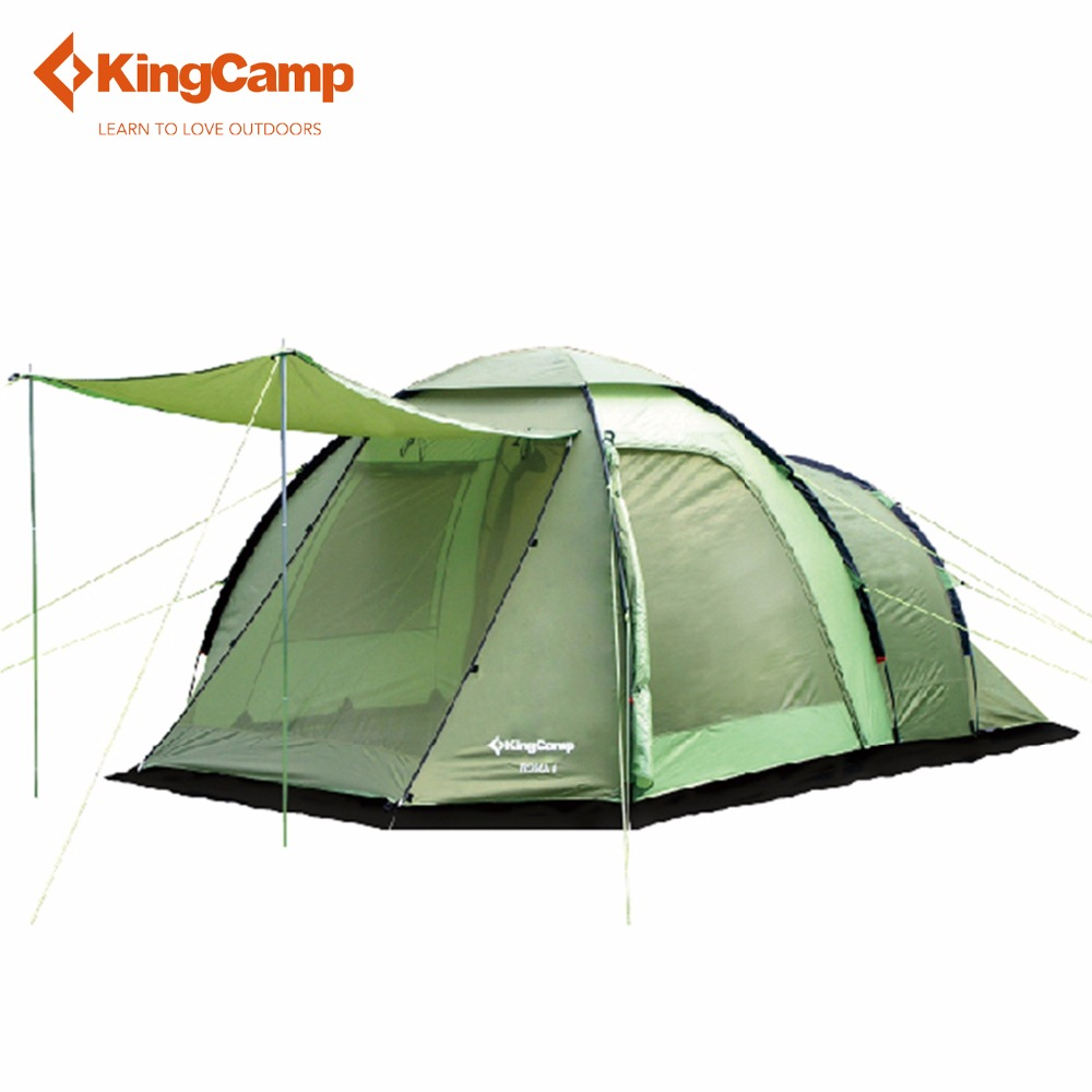 KingCamp Portable 4-Person 3-Season Family Camping Tent Outdoor Waterproof Windproof Tent with Bed Room for Trekking Hiking outdoor camping hiking automatic camping tent 4person double layer family tent sun shelter gazebo beach tent awning tourist tent