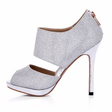 New arrival mujer Two-Piece open peep toe Glitter high heels ladies high heel sexy dress prom wedding party shoes for woman